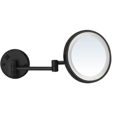 Matte Black Wall Mounted 5x Magnifying Mirror with LED, Hardwired