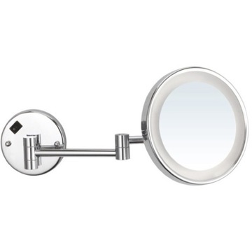 Round Wall Mounted 5x Magnifying Mirror with LED, Hardwired