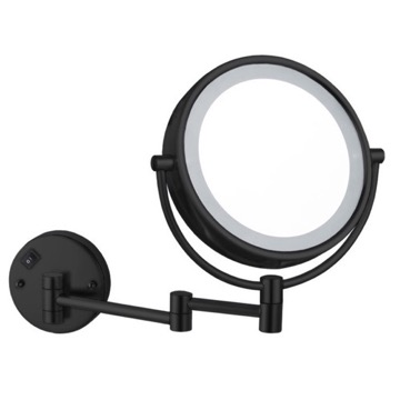 Matte Black Double Face LED 7x Magnifying Mirror, Hardwired