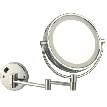 Satin Nickel Double Face Round LED 3x Magnifying Mirror, Hardwired