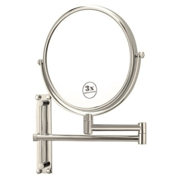Satin Nickel Round Wall Mounted Double Face 3x Shaving Mirror