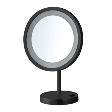 Matte Black Free Standing 10x LED Makeup Mirror