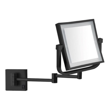 Matte Black Double Face LED 5x Magnifying Mirror, Hardwired