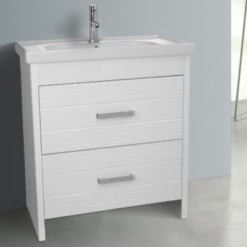 31 Inch Floor Standing White Vanity Cabinet With Fitted Sink