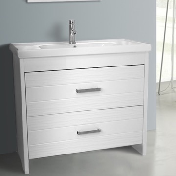 39 Inch Floor Standing White Vanity Cabinet With Fitted Sink