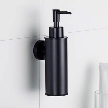 Wall Mounted Round Matte Black Soap Dispenser