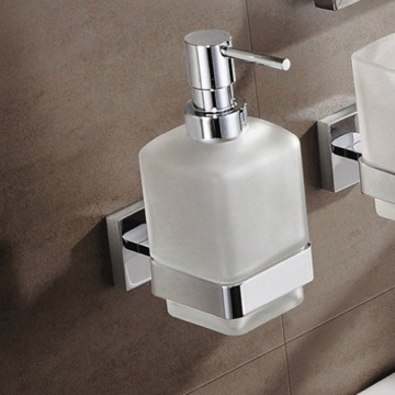 Wall Mount Frosted Glass Soap Dispenser With Chrome Mounting