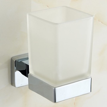 Chrome Wall Mounted Frosted Glass Toothbrush Holder