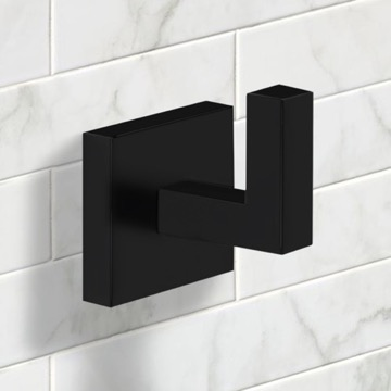 Modern Square Bathroom Hook in Black Finish