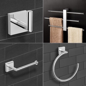 Wall Mounted 4 Piece Chrome Hardware Set