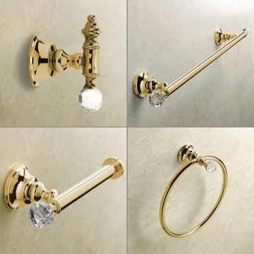 Wall Mounted 4 Piece Gold Hardware Set with Crystals