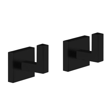 Pair of Modern Square Matte Black Wall Mounted Bathroom Hooks