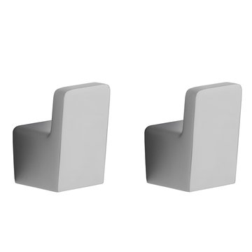 Pair of Modern Chrome Bathroom Hooks