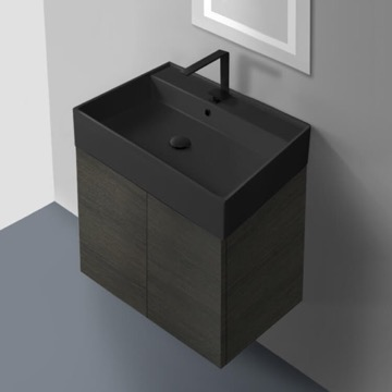 24 Inch Grey Oak Vanity Set with Matte Black Sink