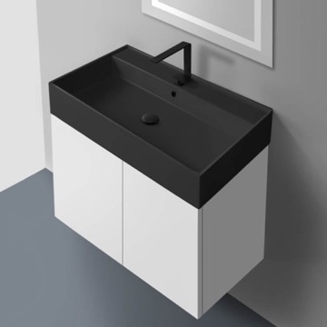 32 Inch Glossy White Vanity Set with Matte Black Sink