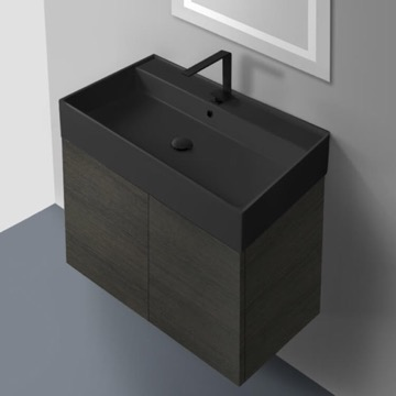 32 Inch Grey Oak Vanity Set with Matte Black Sink