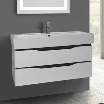 39 Inch Wall Mounted White Vanity Cabinet With Fitted Sink