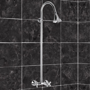 Shower Mixer With Column and Shower Head In Brass