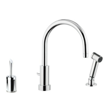 Chrome Deck Mount Sink Faucet With Hose