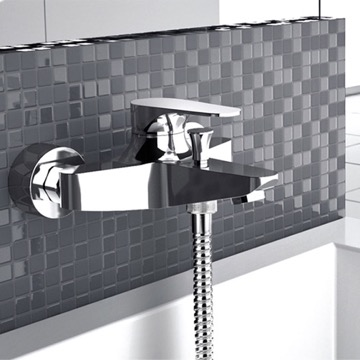 Wall-Mounted Bath And Shower Diverter In Chrome Finish