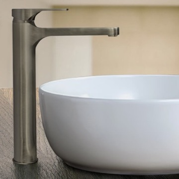 Brushed Nickel Round Vessel Sink Faucet