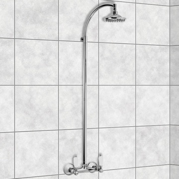 Wall-Mounted Shower Head Column In Chrome Finish
