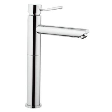 Tall Chrome Faucet With Single Lever and 10 Inch Neck