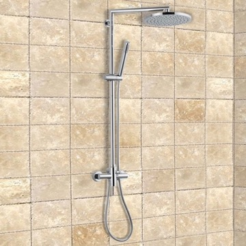 Wall-Mounted Shower System With Overhead Shower, Sliding Rail, and Hand Shower
