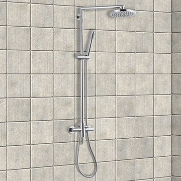 Chrome Shower Column With Overhead Shower, Sliding Rail and Hand Shower