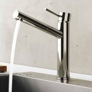 Chrome Sink Faucet With Pull-Out Spout