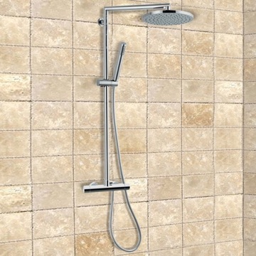 External Thermostatic Shower with Sliding Center and Diverter, Shower Head, and Hand Shower