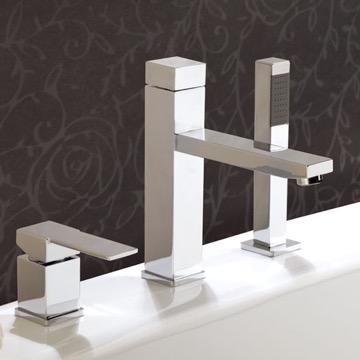 Roman Bathtub Faucet with Pull-Out Hand Shower