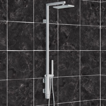 Shower Set with Single Lever Mixer, Diverter, Hand Shower, and Brass Column with Shower Head