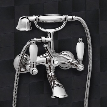Chrome Wall Mount Telephone Bathtub Faucet