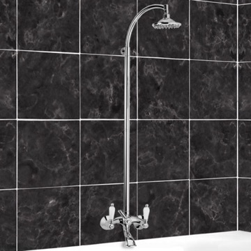 Bathtub Mixer With Column and Shower Head In Brass
