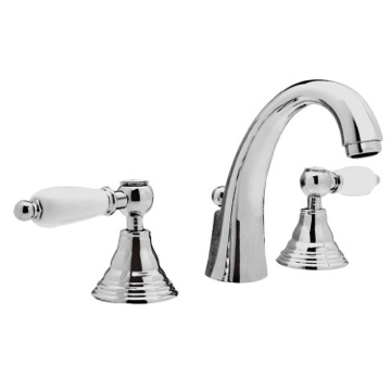 Three Hole Washbasin Faucet With Cast Spout and Pop-Up Waste
