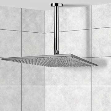 Shower Head, Contemporary, Chrome, Brass, Remer Enzo, Remer 347N-359SSXL