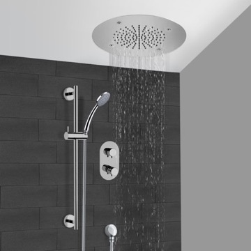 Chrome Thermostatic Shower System With 16