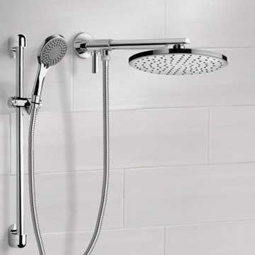 Dual Shower Head Set With 2-Way Diverter Shower Head Arm and Sliding Rail