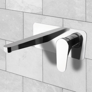 Rectangular Wall Mounted Basin Mixer With Lever