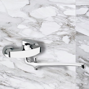Single Lever Wall Mounted Basin Diverter With Long Casted Spout