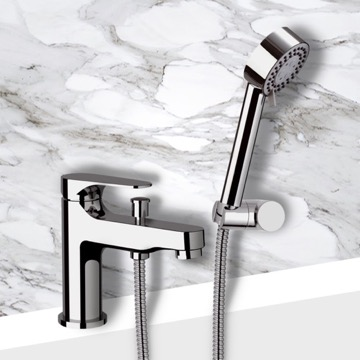 Bath and Shower Mixer With Hand Shower and Bracket in Chrome Finish
