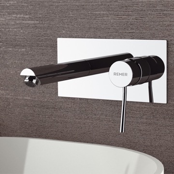Chrome Wall Mount Bathroom Sink Faucet