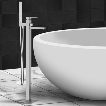 Floor Mounted Tub Mixer with Diverter and Shower Kit