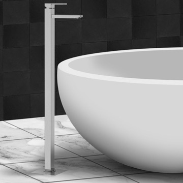Chrome and Brass Floor Mounted Single Lever Tub Filler
