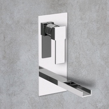 Chrome Waterfall Wall Mount Bathroom Sink Faucet