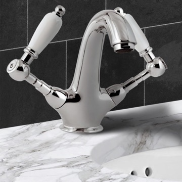 Two Handle Washbasin Mixer With Click-Clack Pop-Up Waste