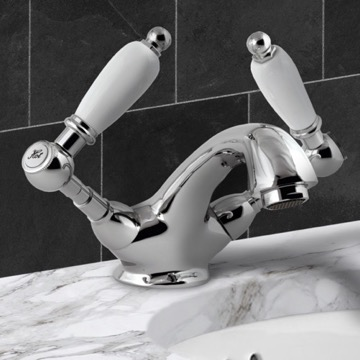 Washbasin Mixer With Pop-Up Waste and Two Handles