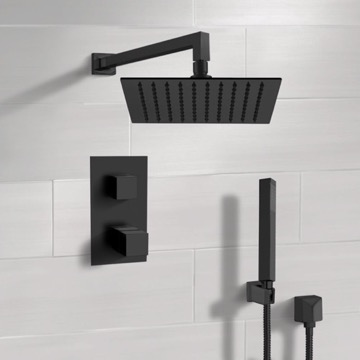 Matte Black Thermostatic Shower Set with Rain Shower Head and Hand Shower