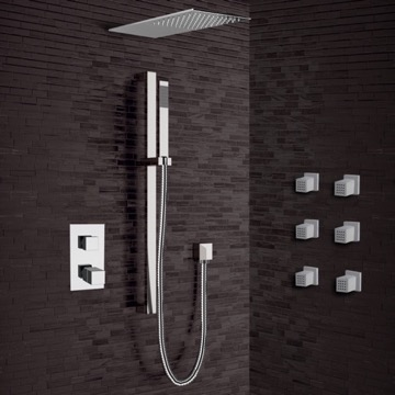 Chrome Thermostatic Shower System with Sleek Rain Shower Head and Hand Shower